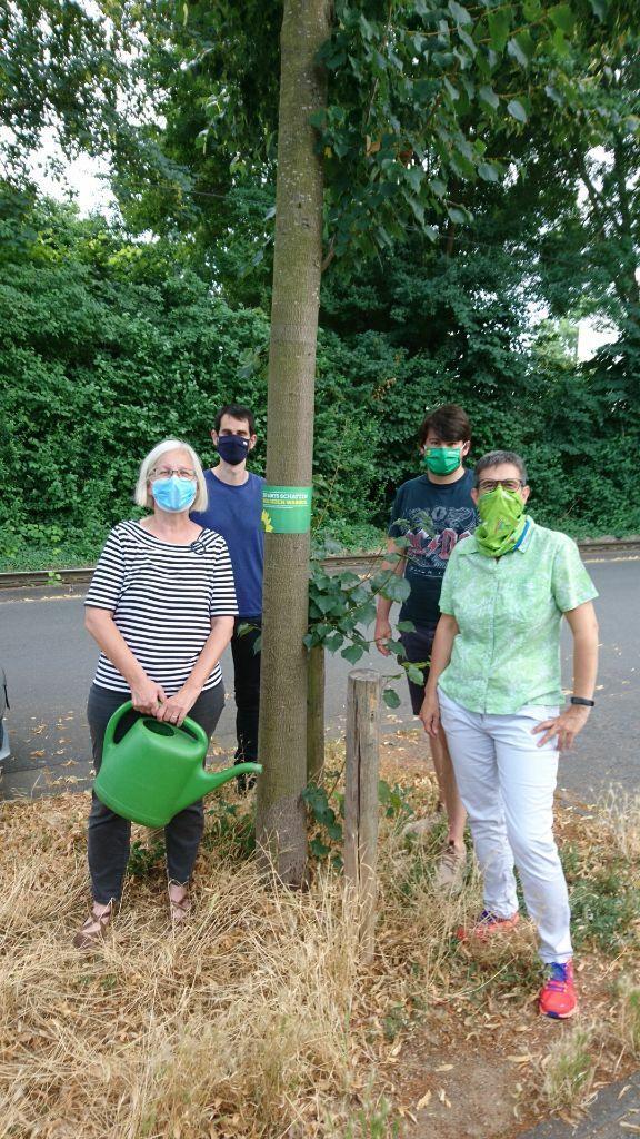 Vier Grüne Bretzenheimer*innen stehen mit Gießkanne um einen Baum, den sie gegossen haben
